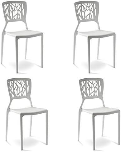 Designetsamaison Lot de 4 chaises Blanches Verdi