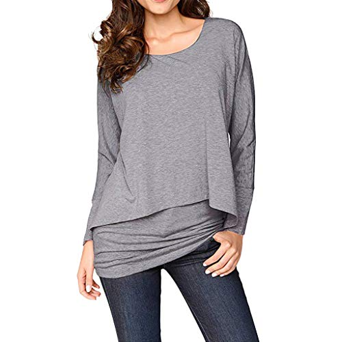 Lowpricenice DaySeventh Women Casual Long Sleeve Tops Batwing Layered Round Neck Loose Blouses GY/L]()