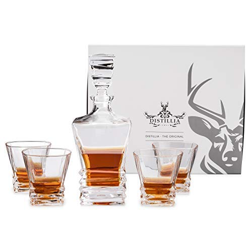 Arctic Whiskey Decanter Set with Four Scotch-Glasses  Unique Twisted Hand-Crafted Design Crystal Whisky Glasses in a Beautifully Elegant Gift Box  Lead-Free Old-Fashioned-Style Tumblers