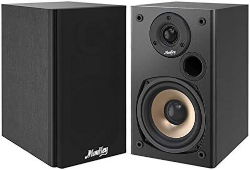 BESTISAN Powered Bluetooth Bookshelf Speakers Studio Monitor with 2 Auxiliary Line Input 25W x 2- Black-2021 Model 4 inch Near Field Speaker with Deep Bass Response Bookshelf Speakers