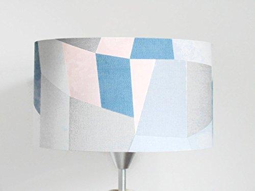 paralume geometrico - scandinavo - rosa pastello blu grigio cilindrico interamente fatta a mano diametro personalizzato - plafoniera - lampada da terra o da tavolo - idea regalo - ragazza da camera - arredamento camera da letto