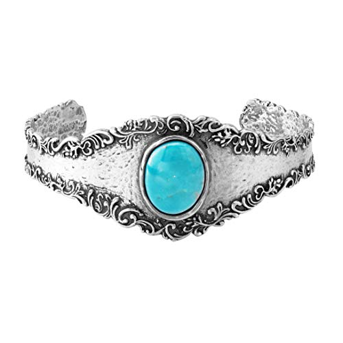 Paz Creations .925 Sterling Silver Bangle Turquoise Gemstone (8, ()