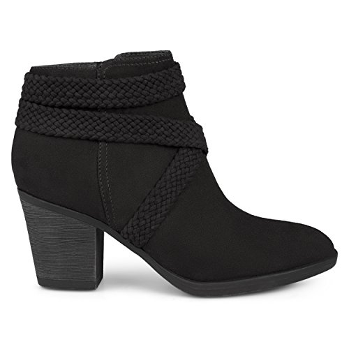 Brinley Co. Womens Sadie Faux Suede Almond-Toe Crisscross Strap Booties Black, 7.5 Regular US