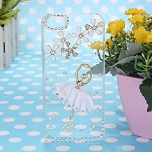 Sparkle Ballet Girl Flower Bling Crystal Diamond Case For iPhone 5 5G --- Color:White (-£0.06)