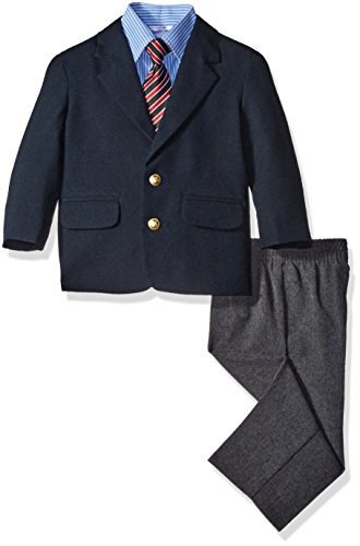 (Nautica Boys' 4-Piece Suit Set with Dress Shirt, Tie, Jacket, and Pants, Navy Blue, 18 Months)
