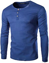 Mens Long Sleeve Round Neck Slim Casual Solid Buttons T-Shirt Tee