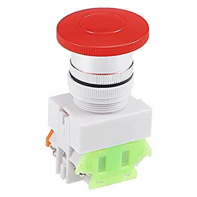 uxcell 22mm Sign Mushroom Emergency Stop Push Button Switch