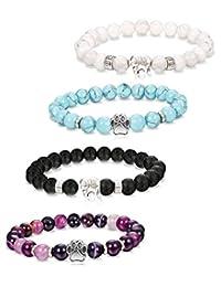 Milacolato 4Pcs Natural Stone Bead Bracelet for Girls Women Dog Paw Elephant Lucky Healing Bracelet
