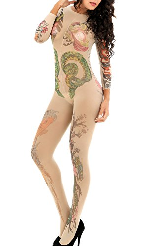 OGNEE Women Bodystocking Onesie Tattoo Floral Flesh Tights Stockings - Women With Tattoos