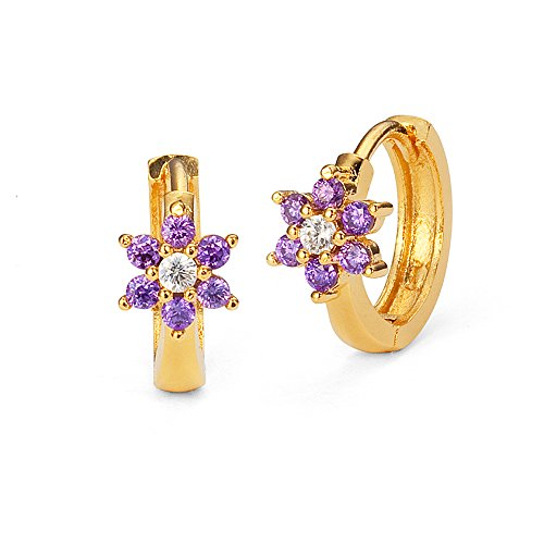 14k Gold Plated Brass Birth Month Cubic Zirconia Flower Baby Hoop Huggie Baby Girls Earrings
