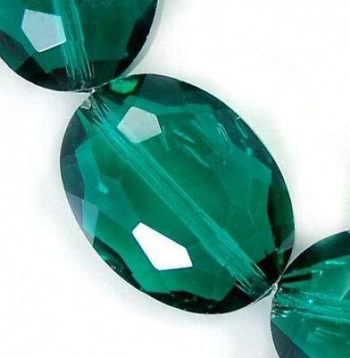 FidgetFidget 12x16mm Faceted Emerald Czech Glass Crystal Flat Oval Beads 12pcs