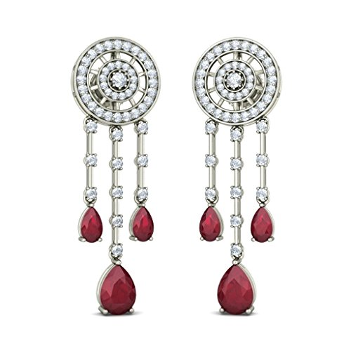 Or blanc 18 K 0,89 CT TW Round-cut-diamond (IJ | SI) et rubis Boucles d'oreille