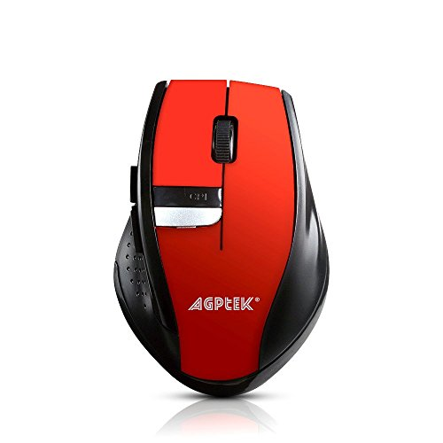 AGPTEK Wireless Mouse, 2.4Ghz Wireless Mobile Optical Mouse with Six Function Key, 3 DPI Levels, USB Wireless Receiver - Burnning Red