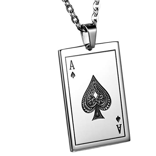 Oidea Stainlss Steel Mens Gothic Ace of Spades Card Poker Pendant Necklace,22 Inch Chain Included,Birthday Gift,with Gift Bag