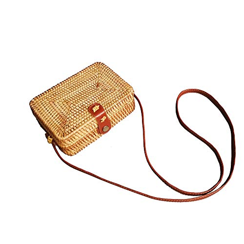 - Handwoven Round Rattan Purse Beach Shoulder Bag Straw Purse Crossbody (Square)