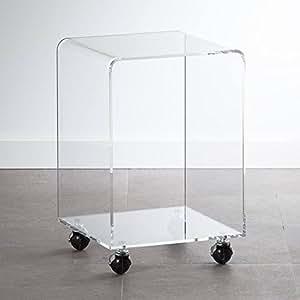 Amazoncom Cube Wheeled Acrylic Side Table Kitchen Dining - Acrylic cube side table
