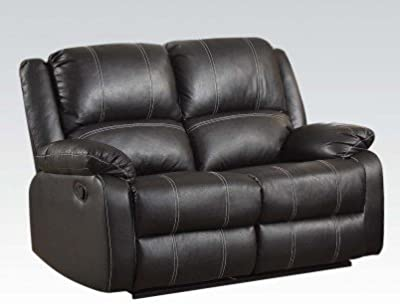 Simple Relax 1PerfectChoice Zuriel Black PU Motion Loveseat