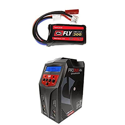 Venom Fly 30C 2S 300mAh 7.4V LiPo Battery with JST and E-flite PH Plug and Venom Pro Duo 80W X2 Dual AC/DC 7A LiPo & NiMH RC Battery Balance Charger Money Saving Combo