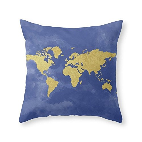 Sea Girl Soft Gold Navy World Map, Elegant, Gold Foil, Nursery, Throw Pillow Indoor Cover Pillow Case For Your Home(18in x 18in)