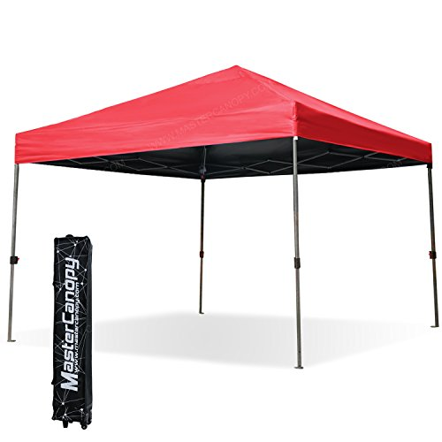Canopy Roller Bag (MASTERCANOPY 10x10ft Instant Tent Commercial Pop up Canopy Portable Folding Canopy W/ Wheeled roller bag For Trade Show(Red))
