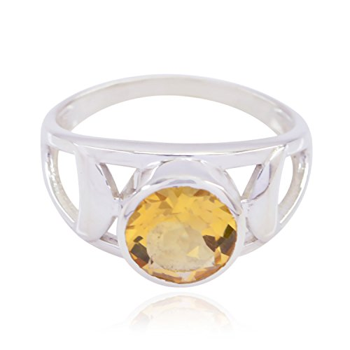 Good Gemstones Round Faceted Citrines Ring - Fashion Silber Yellow Citrines Good Gemstones Ring - Supply Jewelry top Item Gift for Graduation Monogram Stack Ring -US 8.5
