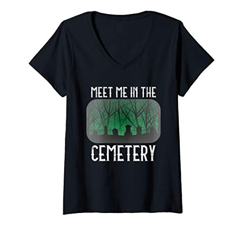 Womens Taphophile Shirt Meet Me in the Cemetery Halloween Gift V-Neck T-Shirt]()