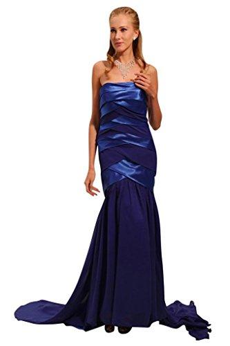 charmante lange BRIDE Abendkleid GEORGE Formale Chiffon traegerlosen und Blau Satin g4tRRqA