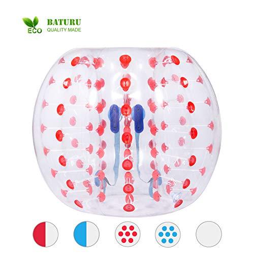 - BATURU Inflatable Bubble Ball/Giant Zorb Ball/Knocker Ball Adults & Teens - Eco-Friendly Thick 0.8mm PVC w/Bonus Repair kit (Dia 5 ft/1.5m) (Red Dot)