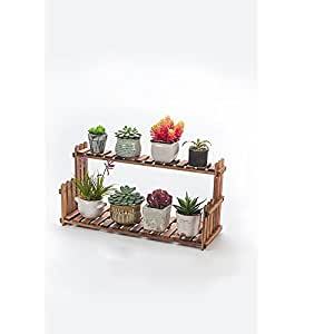 Solid wood flower rack / living room balcony floor multi-storey pots / simple indoor plant shelves ( Color : Retro color , Size : 602122cm )
