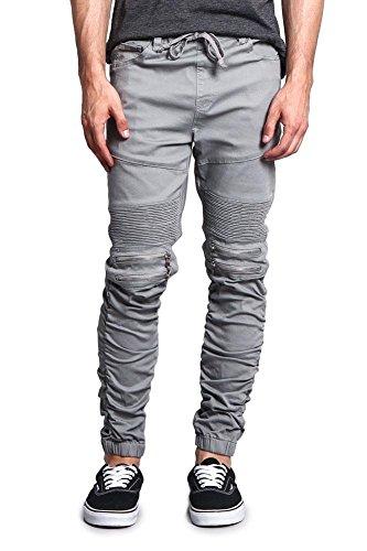 G-Style USA Scrunch Stacked Biker Twill Jogger Pants JG882 - Dark Grey - Medium - ()