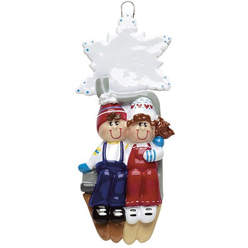 Personalized Ski Lift Couple Christmas Tree Ornament 2019 - Together Winter Sport Snowflake Romantic Honeymoon Alpine Downhill Slope Hobby Mountain Friend Holiday Tradition Year - Free Customization