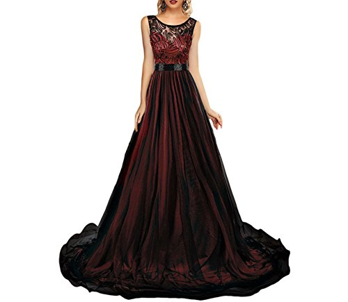 4zkM Zk001 Fashion Robe Longue Femme Soiree Sheer Lace Mesh Overlay Blue Queen Floor Length Long Maxi Dress Elegant Party Gown LC61161 Burgundy (Dillards Robes)