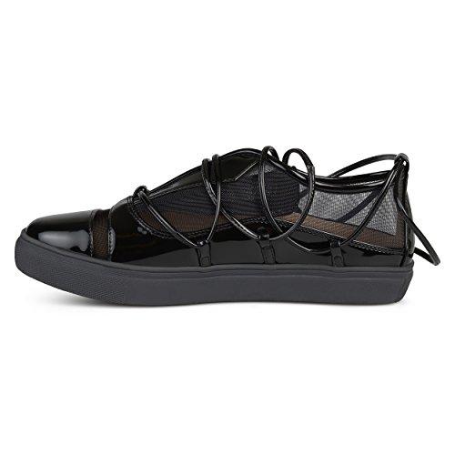 Collezione Journee Womens Cinturino Alla Caviglia Con Cinturino In Mesh Athleisure Sneakers Nere