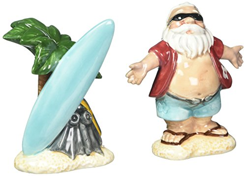 Cosmos Gifts 10702 Santa with Surfboard Salt and Pepper Set, 3-1/2-Inch ()