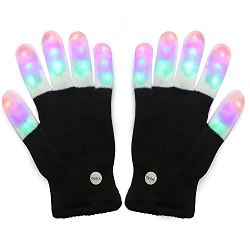 Price comparison product image #1 Premium quality LED Lighting Gloves, Flashing fingers, Rave gloves, colorful gloves, light show by TRITECHNOX (Black - lighting fingers, Type 1)