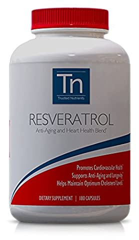 Trusted Nutrients Non-GMO 100% Pure Resveratrol, 1000mg, 180 Veggie Caps: Special Anti-Aging Blend with Trans-Resveratrol, Grape Seed Extract (Standardized to Contain 95% Polyphenols), Acai, Maqui