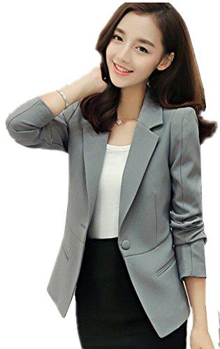 Grey Pinstripe Blazer (SiYuan Gray Women's Lapel Slim Blazer Office Casual Blazer Jacket Coat)