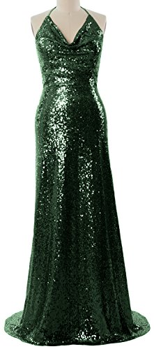 Women Bridesmaid Neck Party Macloth Cowl Halter Wedding Dark Gown Long Green Dress Formal 6ddCqnz