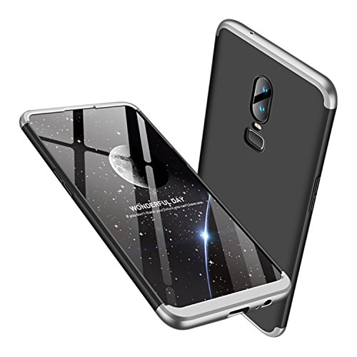 Leodea Oneplus 6 Case, 3 in 1 Ultra-Thin PC Hard Case Cover for Oneplus 6 2018 (Silver+Black)