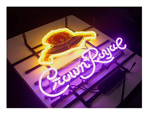 (LDGJ Crown Royal Neon Light Sign Home Beer Bar Pub Recreation Room Game Lights Windows Garage Wall Signs Glass Home Party Birthday Bedroom Bedside Table Decoration Gifts)