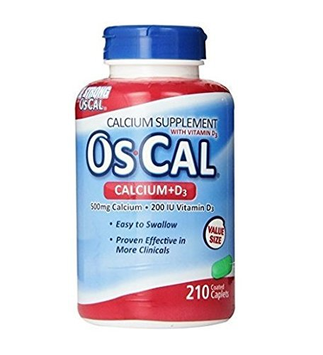 Os-Cal 500 + D, Calcium 500 mg., D3 200 I.U., 210 Coated Caplets (Pack of 3 (210 ct ea)) ()