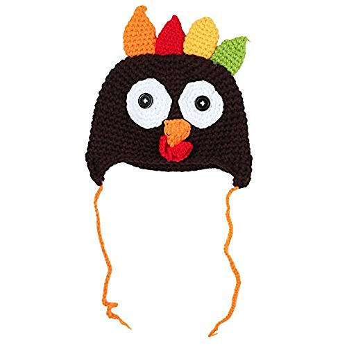 Queenmore Thanksgiving Knitted Turkey Hat Baby Crochet Beanie Cap Pigtail Braids (Coffee)
