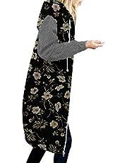 Darringls Overgangsjas voor dames, herfst, parka, stoffen jas, lang sweatjack met capuchon, softshelljack, hoge kraag, capuchon, ritssluiting, capuchon, lange mouwen, hoodie, sweatshirt, jas, winterjas