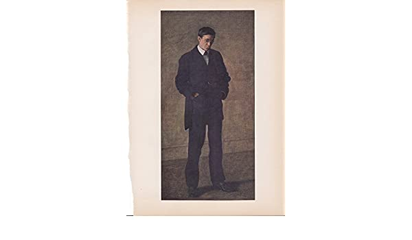 """1939 Vintage /""""THE THINKER/"""" by THOMAS EAKINS Color Art Plate Lithograph"""