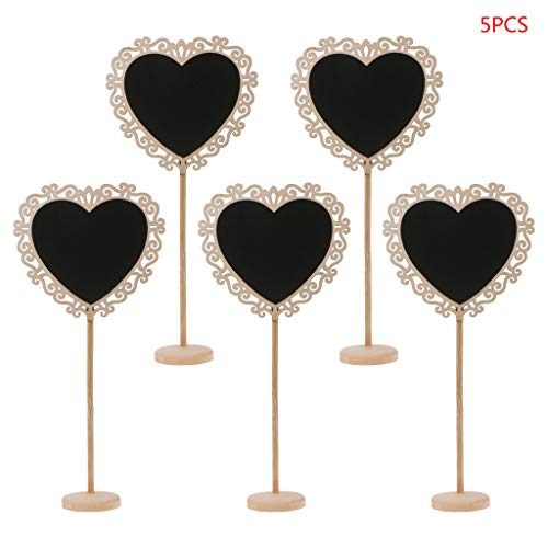 yaonow 5Pcs Hollow Heart Mini Wooden Chalkboard Blackboard Message Table Number Wedding Party Decor Place Card Holder from yaonow