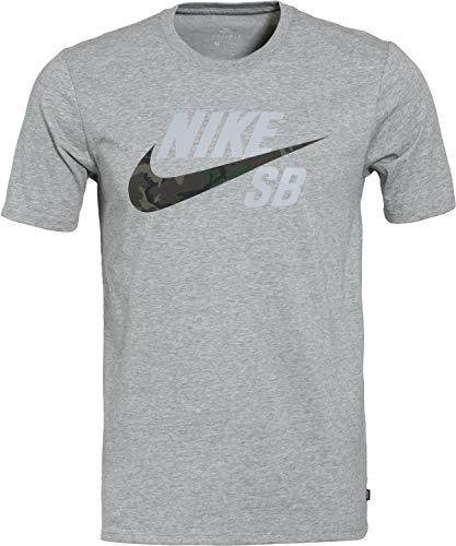 Nike SB Mens Dry DFC Camo Logo T-Shirt AT2657 (Medium, Dark Grey Heather/Dark Grey - Nike Logo T-shirt