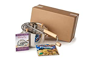Wabash Valley Farms Stainless Steel Whirley Pop Popcorn Popper (Includes Popping Kit)