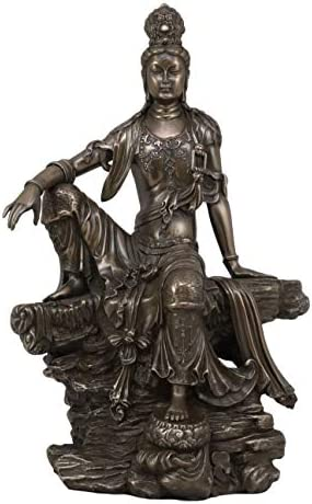 Ebros The Water and Moon Goddess Kuan Yin Bodhisattva Statue in Faux Bronze Resin 13.75 Tall Immortal Deity of Mercy Museum Gallery Quality Buddha Decorative Altar Figurine