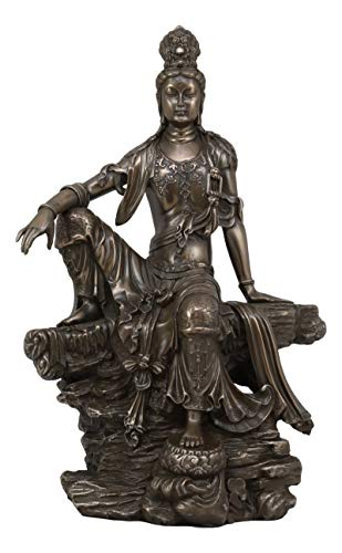 (Ebros The Water and Moon Goddess Kuan Yin Bodhisattva Statue in Faux Bronze Resin 13.75