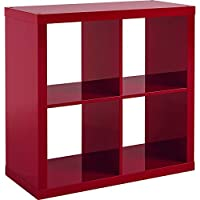 Versatile Better Homes and Gardens Square 4-Cube Organizer, Multiple Colors (High Gloss Red Lacquer)